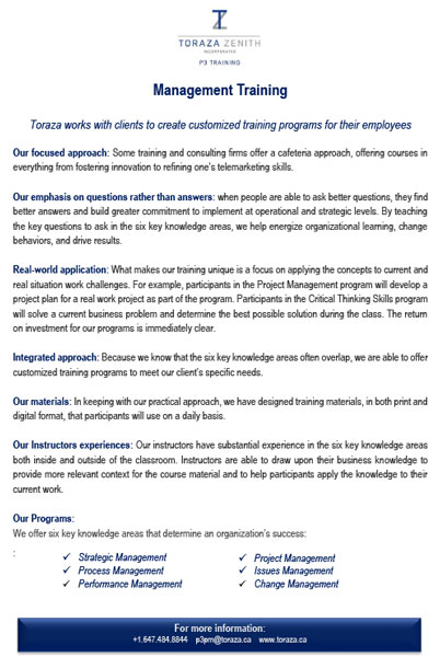 Toraza Zenith Management Training Outlines